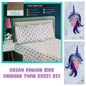 Urban Domain Kids Purple Unicorn Twin Sheet Set
